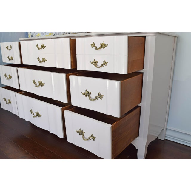 French Provincial Huntley Glossy Pink Lacquer Dresser For Sale - Image 12 of 13