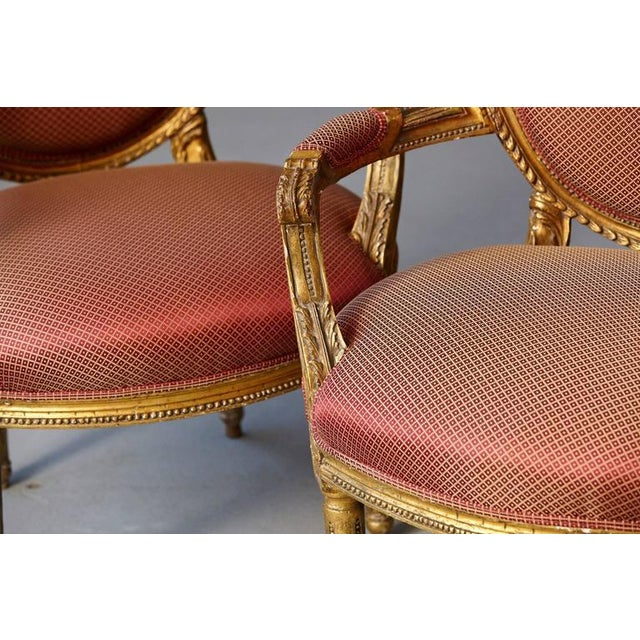 Wood Pair of French Louis XVI Style Gilded Fauteuils For Sale - Image 7 of 10