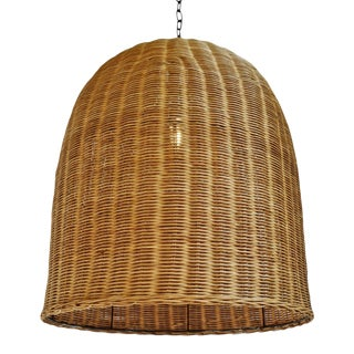 Tea Stain Wicker Dome Lantern For Sale