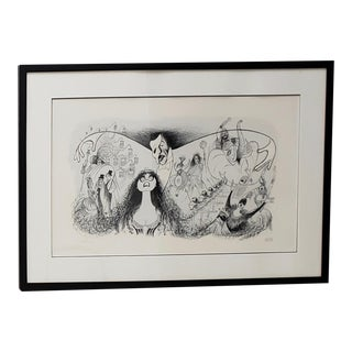 """Al Hirschfeld """"Phantom of the Opera"""" Hand Signed Lithograph Printers Proof C.1988 For Sale"""