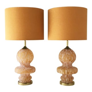 Large Pair of Murano Glass Table Lamps 1970s For Sale