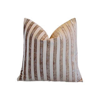 """Custom Tailored French Velvet Striped Feather/Down Pillow 24"""" Square For Sale"""
