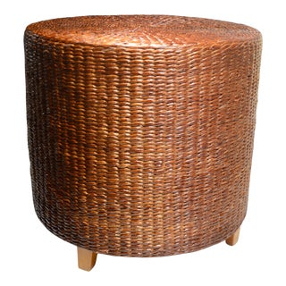 1970s Brown Seagrass Stool For Sale
