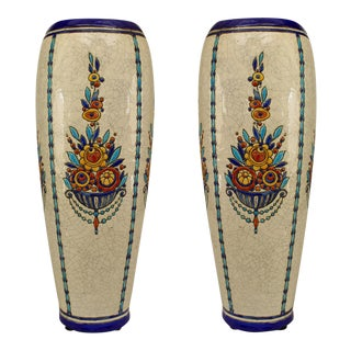Art Deco (Belgian) Crackled Earthenware Vases- A Pair For Sale