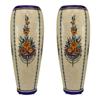 Pair Of Art Deco (Belgian) Crackled Earthenware Vases