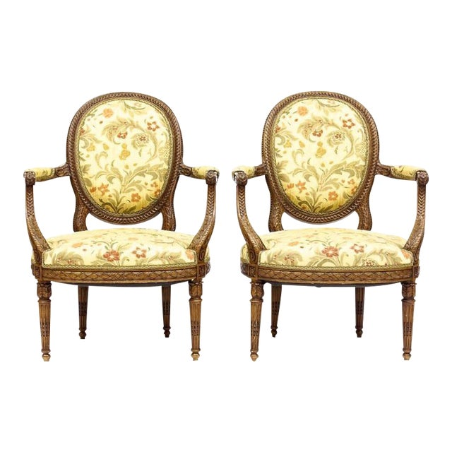 Louis XVI Style Neoclassical Carved Armchairs - a Pair For Sale