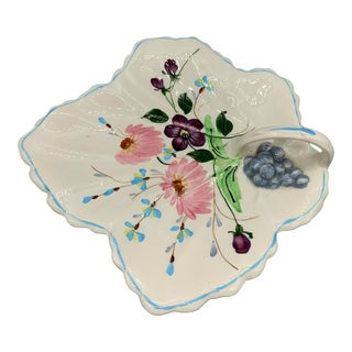 1950s Vintage Blue Ridge Southern Pottery Leaf Platter For Sale