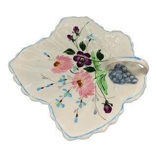 1950s Vintage Blue Ridge Southern Pottery Leaf Platter For Sale
