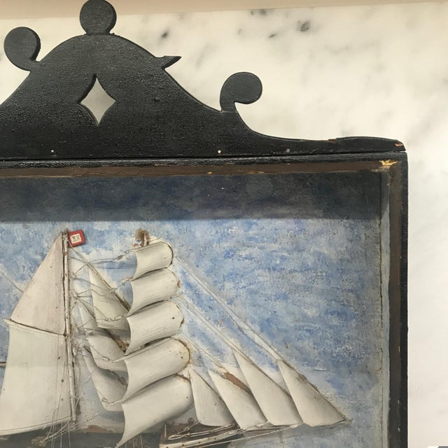 Early 19th Century Diorama Shadow Box of Sailing Vessel For Sale - Image 9 of 11