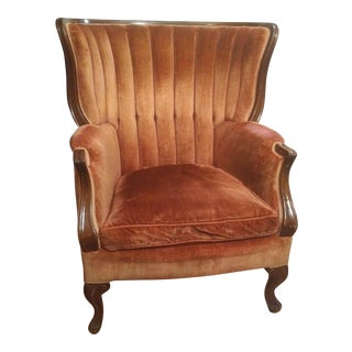 1930s French Provincial Red Velvet Wingback Armchair For Sale