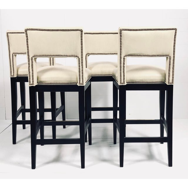 Modern Eggshell Leather Barstools - Set of 4 For Sale - Image 12 of 12