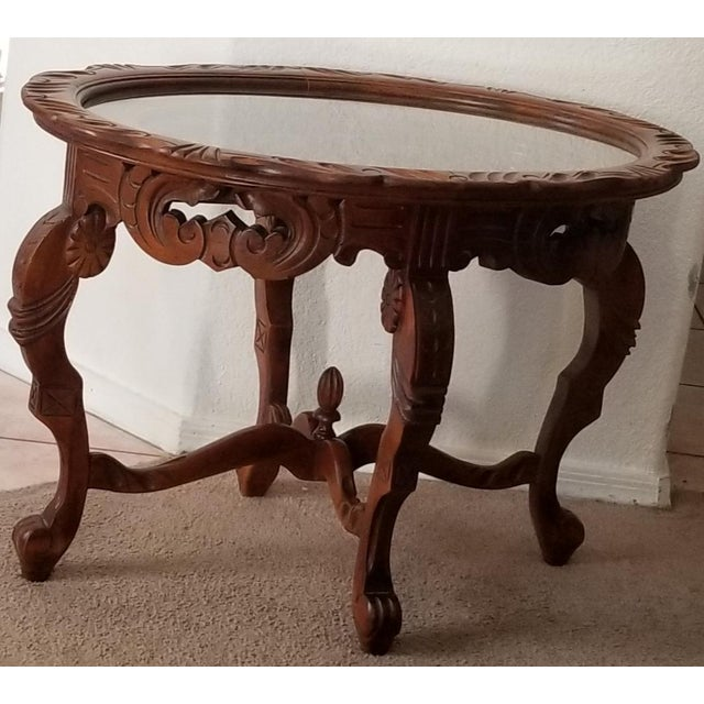 1930's Heavily Carved Wooden Table W/Glass Tray Removable Top For Sale - Image 13 of 13