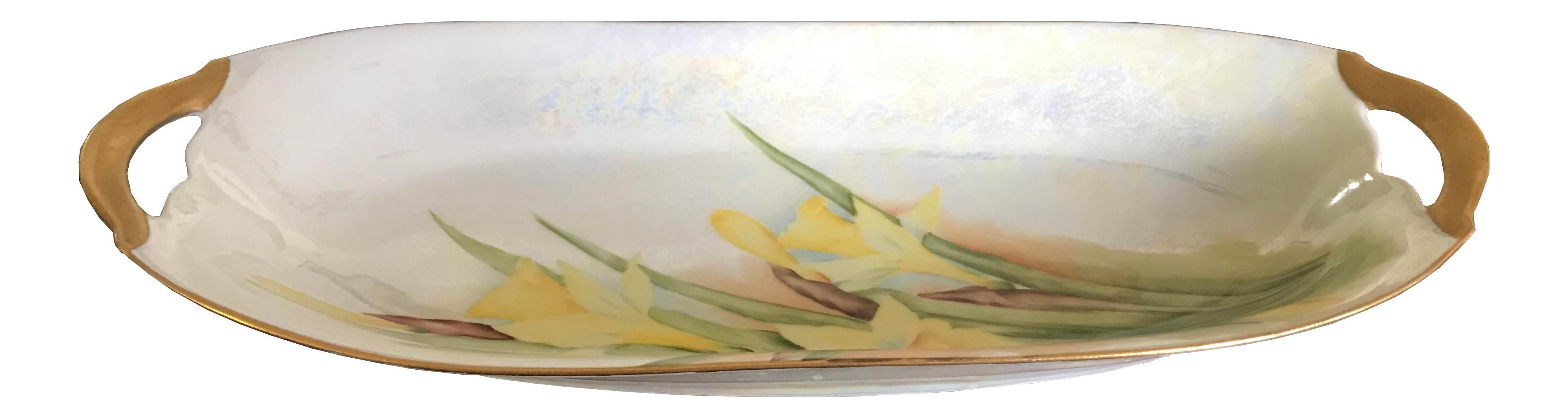 Platter Iridescent Floral Vintage Serving Dish