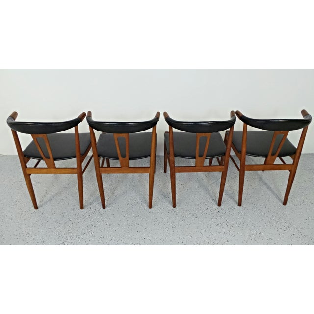 Hans Wegner Style Teak Leather Dining Chairs - 4 - Image 5 of 10