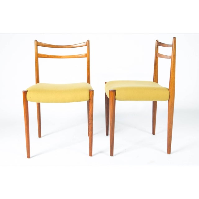 1960s Yellow Fabric Rosewood Danish Modern Chairs- Set of 4 For Sale In Boston - Image 6 of 12