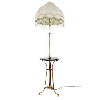 Bronze Telescopic Floor Lamp with Portoro Marble Tabletop, Italy, 1920s