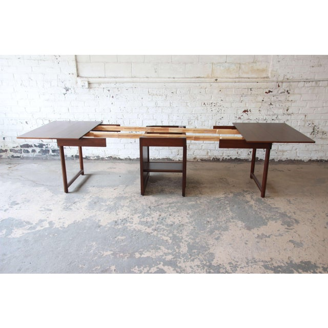 Large Edward Wormley for Dunbar Mahogany Extension Dining Table For Sale In South Bend - Image 6 of 13