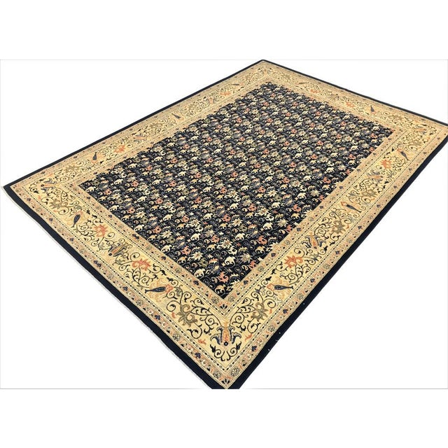 "Textile Kafkaz Peshawar Betsy Blue & Gold Wool Rug - 9'10"" x 13'6"" For Sale - Image 7 of 7"