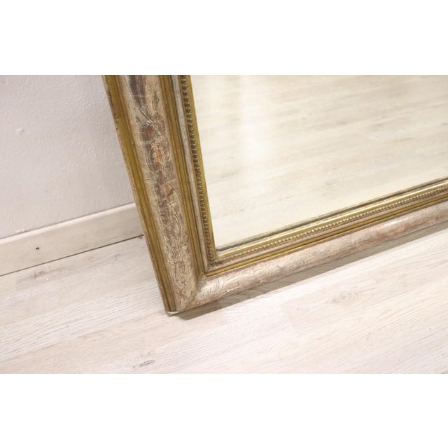 19th Century Italian Golden and Silver Wood Antique Wall Mirror For Sale - Image 9 of 13