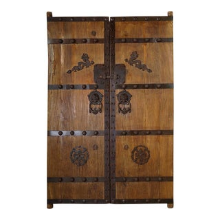 Antique Chinese Elm Court Yard Door Panels - 2-Piece Set For Sale