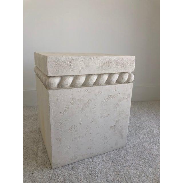 Mid-Century Modern Vintage Postmodern Decorative Plaster Pedestal For Sale - Image 3 of 10