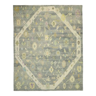 Contemporary Turkish Oushak Rug With Pastel Colors - 12'04 X 15'03 For Sale