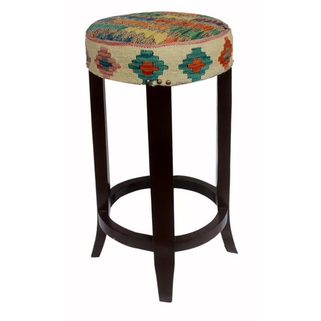 Blue Dino Brown/Ivory Kilim Uphostered Handmade Bar Stool For Sale - Image 8 of 8