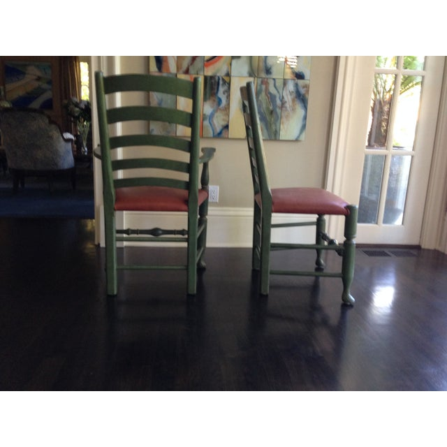English Walnut Ladder Back Chairs - Set of 6 - Image 3 of 6