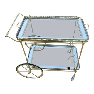 1950s Mid-Century Modern Brass Bar Cart For Sale