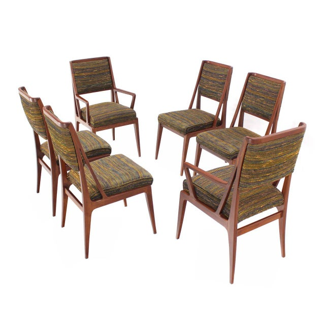 Fabric Dining Table with Three Extension Leaves and Six Matching Chairs Set For Sale - Image 7 of 11