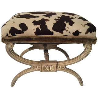 Neoclassical X Bench With Faux Animal Print Upholstery For Sale
