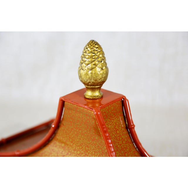 Decorative Orange Metal Pagoda For Sale In Tampa - Image 6 of 11