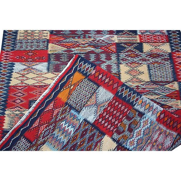 One-of-a-kind Moroccan reversible Kilim handwoven in wool, using a dazzling and impressive double-sided technique. The...