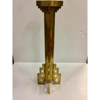 Mid Century Large Brass Gothic Altar Candle Holder Preview
