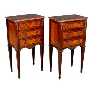 French Marquetry Side Tables or Nightstands - a Pair For Sale