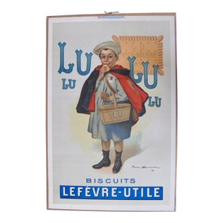 Vintage French Advertising Carton Biscuits LU 1905 Large For Sale