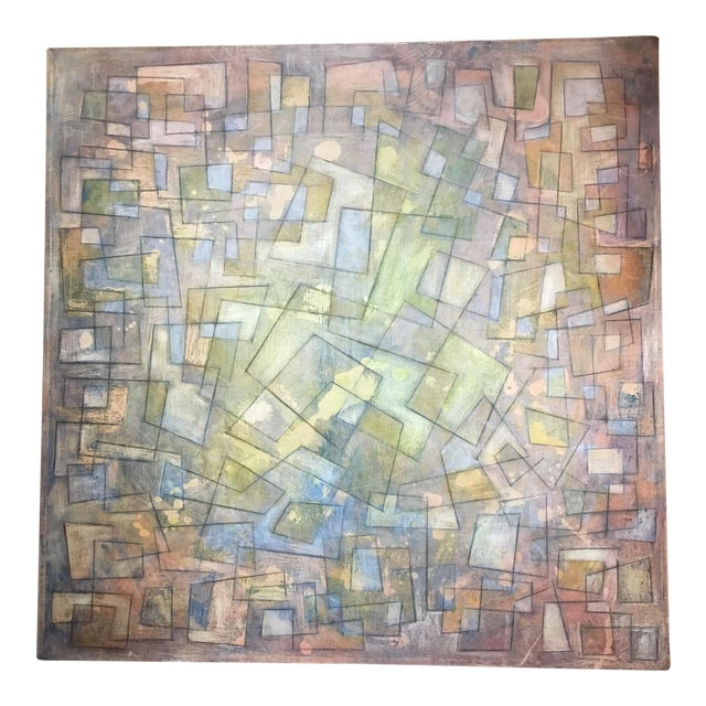 Abstract Colorful Graphite on Canvas For Sale