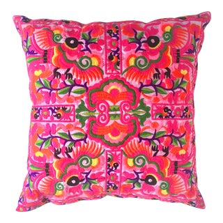 Handmade Neon Pink Embroidered Pillow For Sale