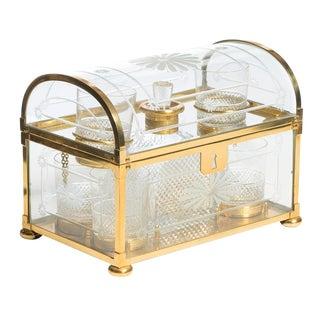 Vintage French Domed Bronze & Crystal Tantalus Set For Sale