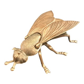 Vintage Italian Copper Toned Metal Figural Fly Ashtray For Sale