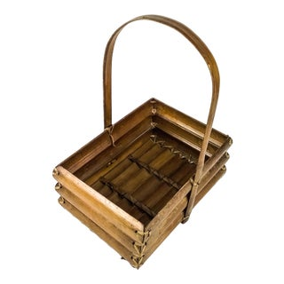 1950s Structured Bamboo Basket For Sale