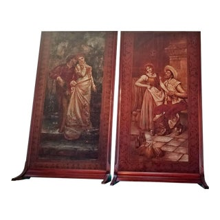 Monumental Framed Italian 18th C. Painted Tapestries - a Pair For Sale