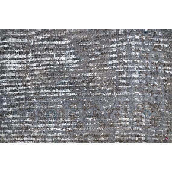 Turkish Gray Overdyed Antique Handwoven Oushak Carpet - 5′4″ × 8′8″ - Image 3 of 5