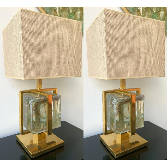 Contemporary Pair of Lamps Brass Cage Murano Glass Cube, Italy For Sale - Image 11 of 11