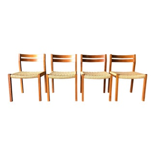 j.l. Moller Danish Teak Corded Dining Chairs.