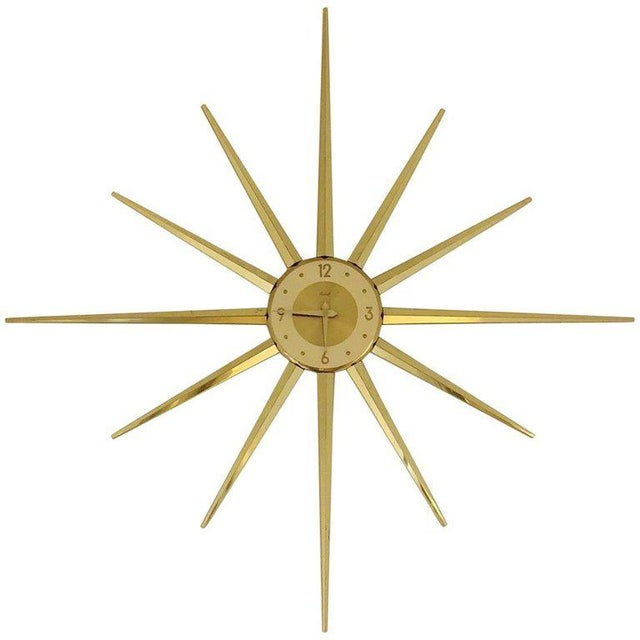 Large Roxhall Brass Spike Sunburst Clock, Circa 1960 For Sale In Los Angeles - Image 6 of 6