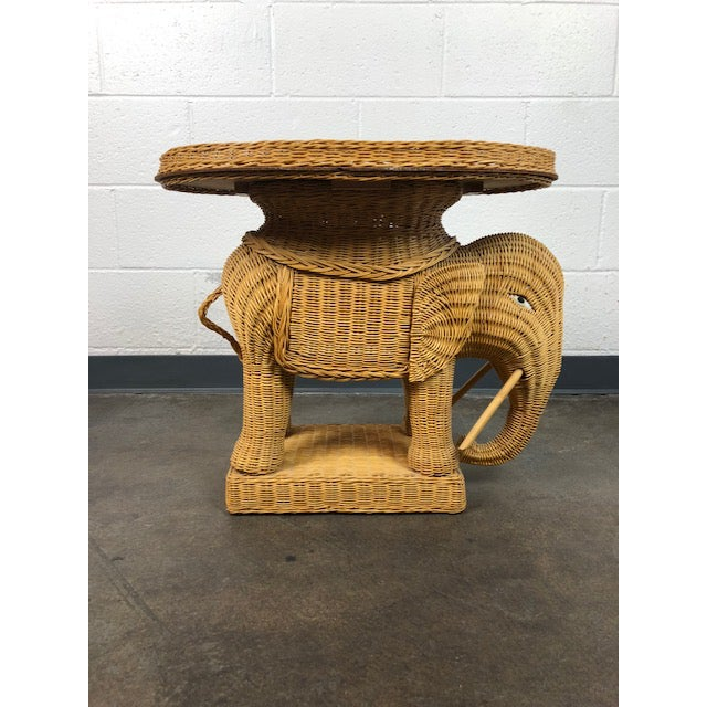 Vintage Woven Rattan Elephant Tray Table For Sale - Image 4 of 13