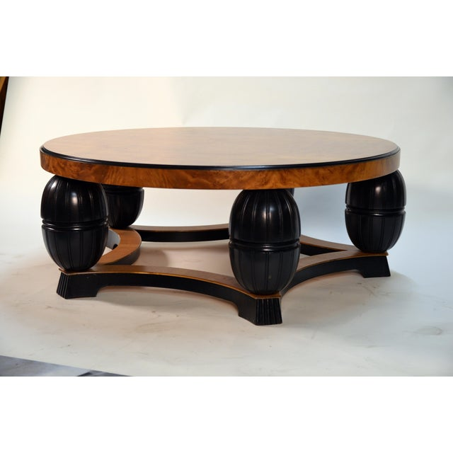 Art Deco Large Swedish Art Deco Coffee Table in Carpathian Elm and Ebonized Birch For Sale - Image 3 of 8