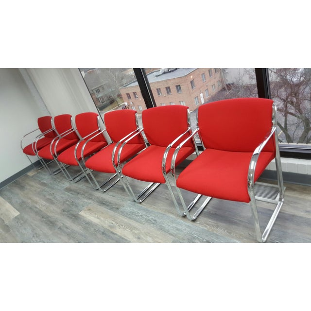 Curvilinear Chrome Chairs - Set of 6 - Image 6 of 9