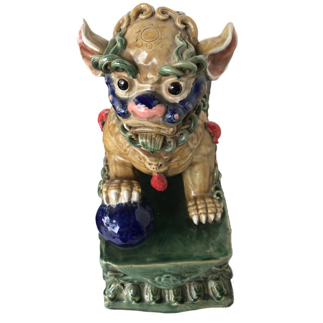 Lg Colorful Foo Dogs A Pair 1675 H Chairish